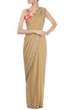 beige sari with floral printed blouse