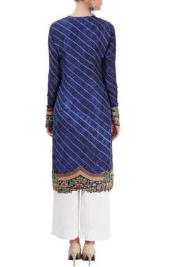 indigo & white embroidered kurta set