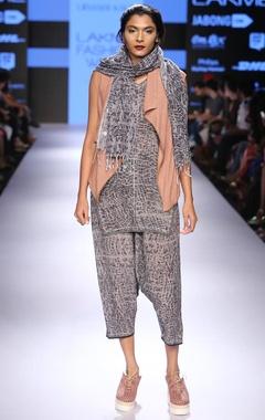 Grey tie & dye print pants