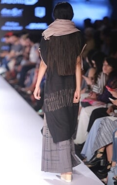 Black block printed long kurta