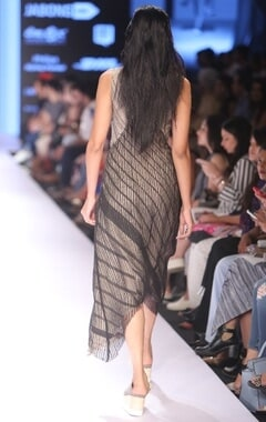 Beige & black striped asymmetrical dress