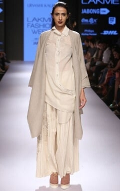 Beige draped long jacket