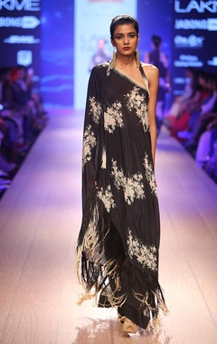 Charcoal floral one shoulder dress with lounge pants