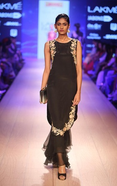 Charcoal embroidered tunic with palazzos