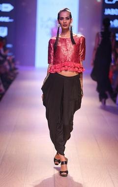 Fuchia brocade blouse with black dhoti pants