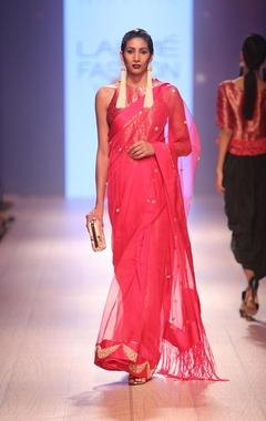 Carnation pink brocade sari