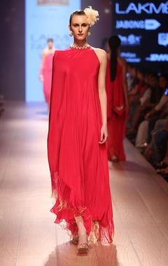 Carnation pink one shoulder dress with sharara