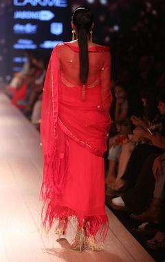 Carnation pink embroidered sari