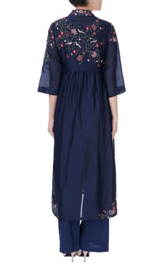 blue floral embroidered kurta & pants