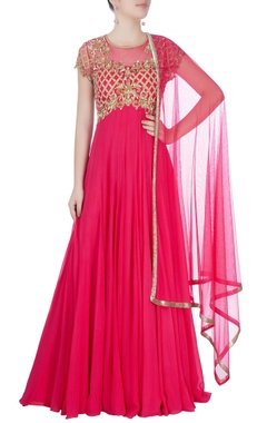Pink anarkali with gold work