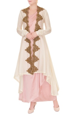 Anand Kabra White zardozi embroidered jacket with dress