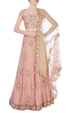 Peach lehenga with gemstone work