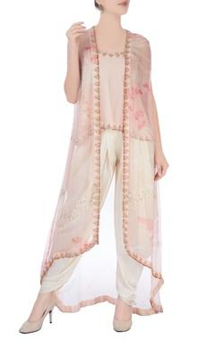 Peach & white dhoti set with kimono