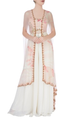Peach floral patterned crop top palazzo set