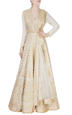 White anarkali set