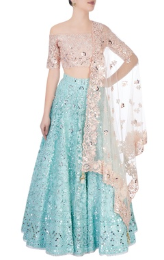 Peach & blue lehenga set with sequence embroidery