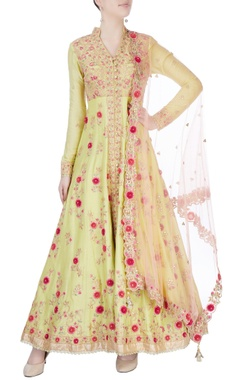 Yellow gold embroidered anarkali set