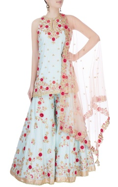 Blue floral embroidered palazzo set