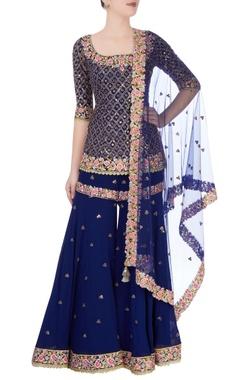 royal blue embroidered kurta sharara set