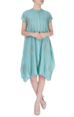 sky blue midi dress in zari gold patterns