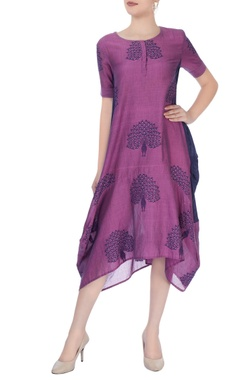 Purple & navy blue midi dress in peacock motif pattern