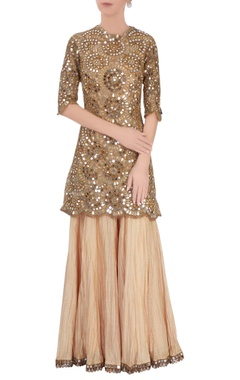 Anand Kabra Gold mirrorwork kurta & crinkled sharara pants