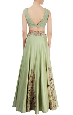 moss green embroidered lehenga set