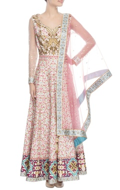White floral anarkali with dupatta