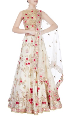 white embroidered lehenga set.