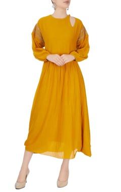 mustard yellow asymmetric midi dress