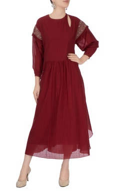 burgundy midi dress with subtle embroidery