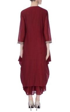 burgundy dhoti style tunic