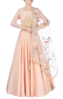 peach anarkali with bodice embroidery