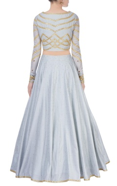 sky blue lehenga with gold embroidery