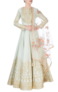 mint green lehenga with gold embroidery