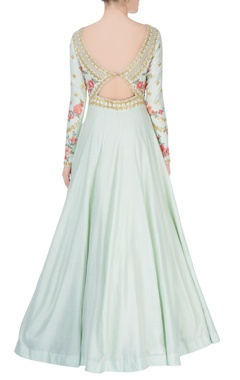Light blue anarkali with floral embroidery