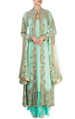 mint green embellished kurta set