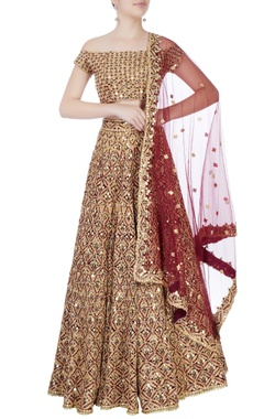 red mirror embroidered lehenga set