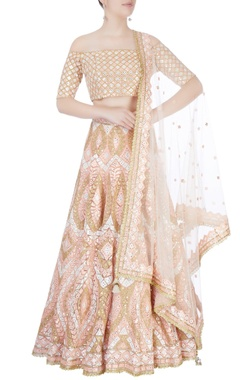 Beige mirror embroidered lehenga set