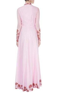 Powder pink kurta with red motif detailing