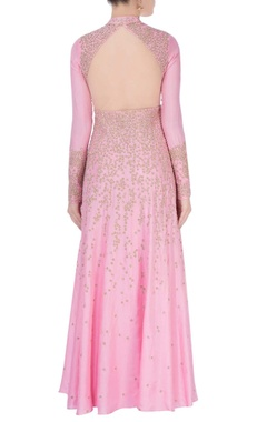 Powder pink anarkali dress with gold embellishments