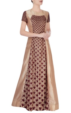 Vivek Kumar Brown and gold anarkali dress