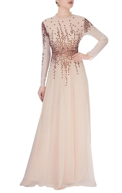 Vivek Kumar Beige high collar gown with stud details