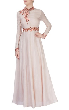 Vivek Kumar Beige high collar gown with shiny bead detailing