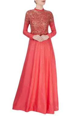 Vivek Kumar Coral red ruffle collar gown with stud details