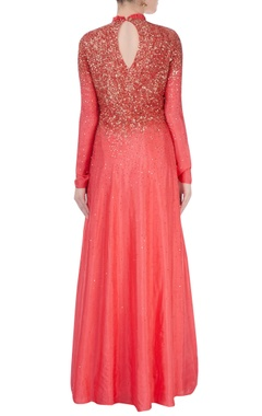 Coral red ruffle collar gown with stud details