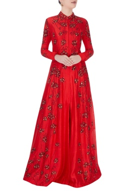 Vivek Kumar Red high collar gown with shiny bead detailing