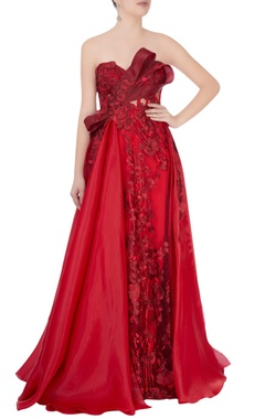 red rose embroidered evening gown