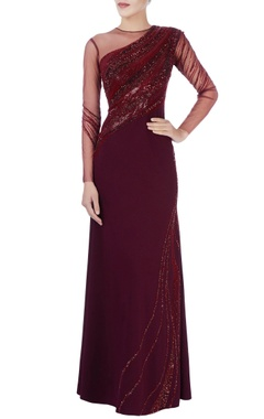 Maroon & purple bead embroidered gown