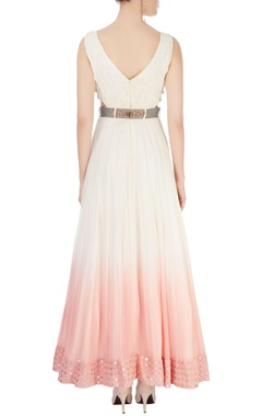 white & pink shaded gown